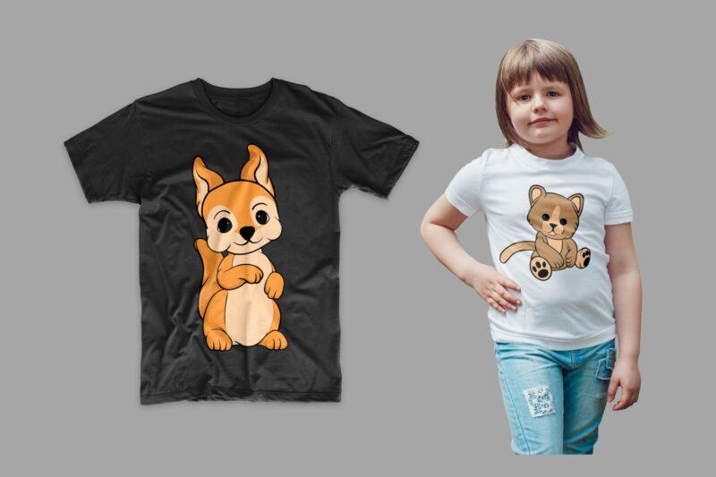 Animals Cartoon Bundle T-shirt Design Vector Illustration. Animal T shirt Designs Bundles, Cute Animal Tee Shirts Pack Collection SVG PNG PSD
