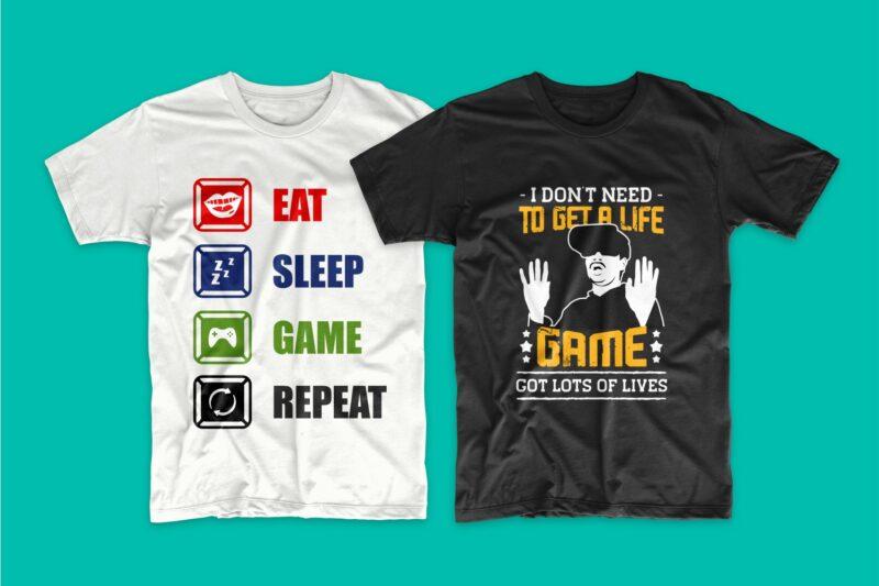 Gaming Gamer T-shirt Design Vector Bundle Sublimation, Gaming T-shirt Designs Bundle SVG PNG PSD, T shirt Design Bundle for Commercial Use