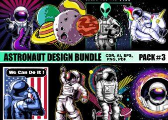 Astronaut T-shirt Designs Bundle Part 3