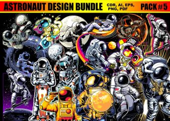 Astronaut T-shirt Designs Bundle Part 5