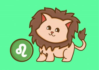 Cute Leo Zodiac Cat Character T-shirt Design