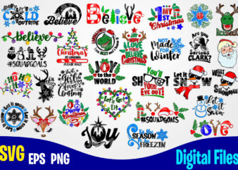 30 Christmas and Winter designs, Funny Winter Christmas designs svg eps, png files for cutting machines and print t shirt designs for sale t-shirt design png