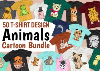 Animals Cartoon Bundle T-shirt Design Vector Illustration. Animal T shirt Designs Bundles, Cute Animal Tee Shirts Pack Collection SVG PNG PSD