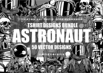 50 Astronaut Tshirt Designs Bundle