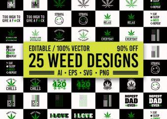 25 best selling weed T-Shirt Design Bundle, 25 best selling cannabis T-Shirt Design Bundle