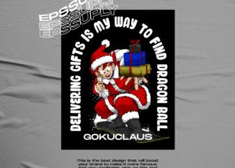 GOKU CLAUSE christmas anime tshirt design