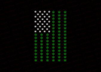 Weed american flag, cannabis american flag T-Shirt Design