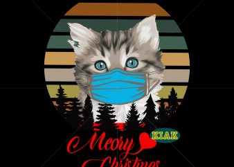 Meory Christmas t shirt template vector, Merry Christmas vector, Meory christmas Png, Kittens wearing a mask Png, Kittens christmas vector, Kittens wearing a mask vector, Funny kitten vector, Funny christmas vector, Kitten vector, Kitten Png, Cat vector, Cat png