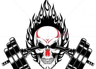 Skull exercise logo, Gymnastics skull skeleton logo, Gymnastics skull skeleton Svg, Skull Gym vector