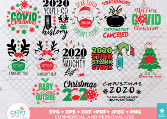 Christmas 2020 Covid Christmas Quarantine SVG, PNG, EPS, Pdf, for Cricut , Silhouette or Sublimation