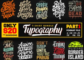 TYPOGRAPHY T-SHIRT DESIGNS BUNDLE PART 1