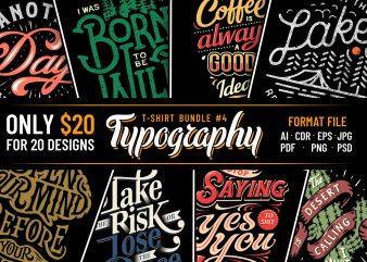 TYPOGRAPHY T-SHIRT DESIGNS BUNDLE PART 4
