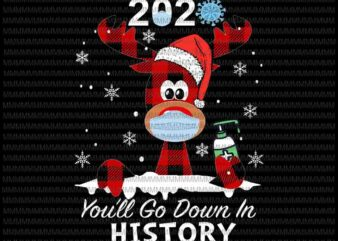 2020 you'll go down in history, Funny Christmas svg, Reindeer Christmas svg, Buffalo Plaid Deer, Reindeer Christmas mask