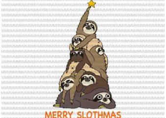 Merry Slothmas svg svg, Merry Slothmas vector, Christmas Tree Sloths svg, Sloths tree vector, Slothmas svg