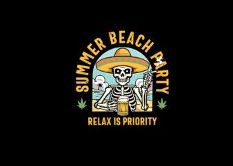 Skull Sombrero vector t-shirt design