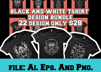 black and white tshirt design bundle
