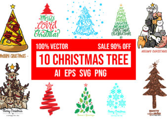 10 christmas tree Design Bundle 100% Vector AI, EPS, SVG, PNG, CDR