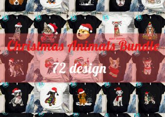 Christmas Animals Bundle PNG, Cat PNG, Dog PNG, Merry Christmas PNG, Corgi PNG, Dachshund PNG, Digital Download