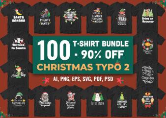 100 t-shirt bundle christmas typography color 2