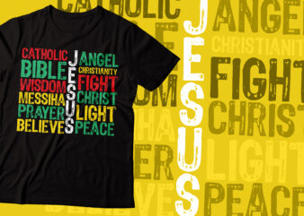 jesus and faith colorful design | retro script style t-shirt | Jesus & faith |Christian t-shirt design