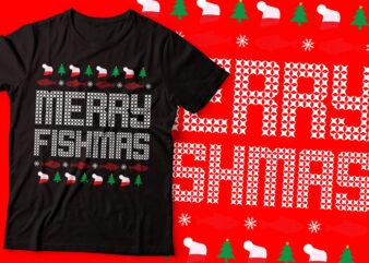 merry fishman ugly sweater t-shirt bundle design | Christian design |fishing t-shirt design