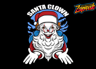 Santa Clown 2020 Happy Chrismas vector cartoon tshirt design