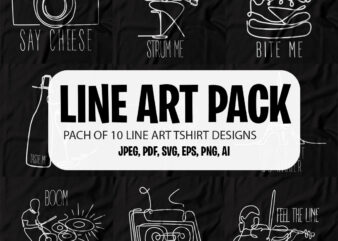 Pack of 10 Line Art T shirt designs for sale