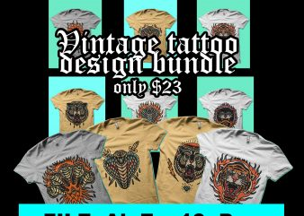 vintage tattoo design bundle tshirt design