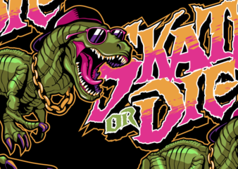 Dinosaurs with skateboard