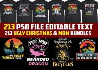 213 ugly christmas template and mom Bundles tshirt designs