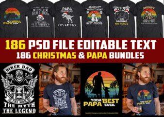 186 christmas template and Papa/Father Bundles tshirt design psd file editable text png transparent
