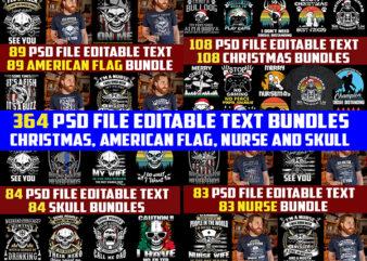 364 christmas, americanflag, nurse and skull Bundles 4in1 tshirt designs