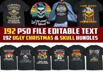 192 skull t shirt template and christmas Bundles png transparent, psd file editable t shirt design