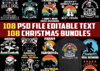 108 CHRISTMAS tshirt designs bundles jpg png Transparent and PSD File editable text layers