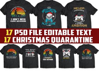 17 funny christmas quarantine gamer template editable tshirt design bundles svg