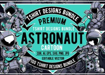 100 Astronaut Cartoon Designs Bundle