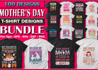 Funny Mom, Mother's day, Crazy Mom, Cool Mom T-shirt Designs Bundle