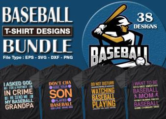 Best Selling 38 Baseball Sport T-shirt Designs Bundle