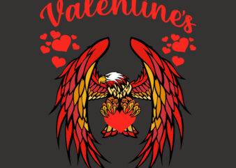 Eagle and valentines day hearts T-shirt design, Valentines vector, Love Svg