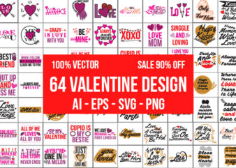 64 Valentine Design Bundle 100% Vector ai, eps, svg, and png transparent background