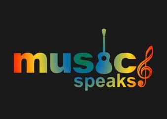 """Music Speaks"" vector design t-shirt template buy t shirt design for sale!"