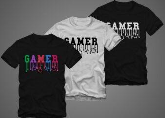 Gaming gamer shirt design – Gamer t shirt design – gaming t-shirt design for sale