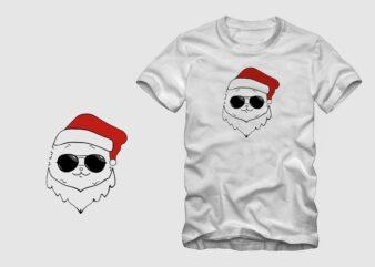 Mew's , cool cat, cat with santa head t shirt vector design sale