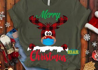 Reindeer wear mask tshirt design vector, Reindeer wear a mask Svg, 2020 wear a mask vector, Buffalo plaid deer vector