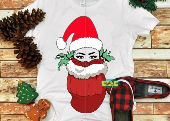 Girl hid in a Christmas bag Svg, Christmas girl vector, Christmas girl Svg, Santa girl wearing a hat Svg, Warm Christmas when hidden in pocket Svg, Girl Svg, Girl vector, Pocket girl Svg
