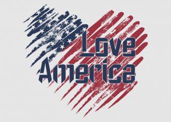 """I really Love America"" vector design t-shirt template buy t shirt design for sale!"