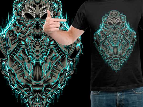 Alien mecha t shirt vector