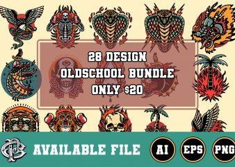 28 design oldschool bundle t-shirt design