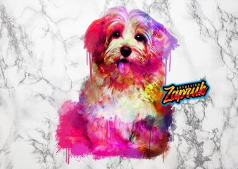 #1 Abstract colorful Puppy dog – Tshirt Design