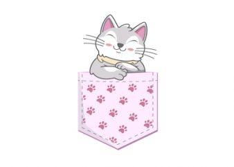 Cat Pocket Design Animal pocket – SVG – AI – EPS – PNG – JPG